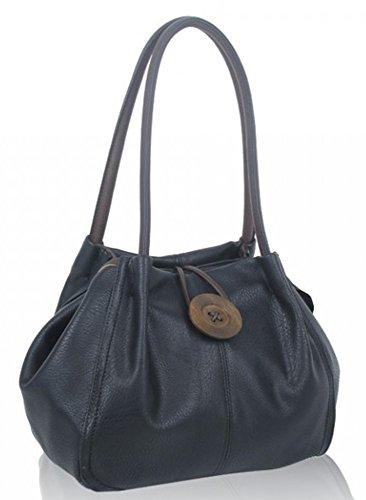 LeahWard® Damen Mode Essener Qualität Kunstleder Wood Taste Schultertasche Damen Stunning Flexible Handtasche CWRX140731 CWRS14131 CWRS14131-Schwarz