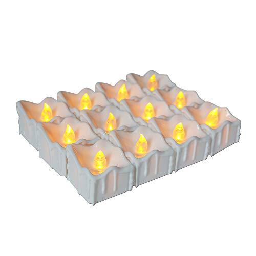 LED Flammenlose Tealights, Flackern Teelichter, elektrische Kerze Lichter Batterie Dekoration für Weihnachten, Weihnachtsbaum, Ostern, Hochzeit, Party 3.8cm*3.3cm ()
