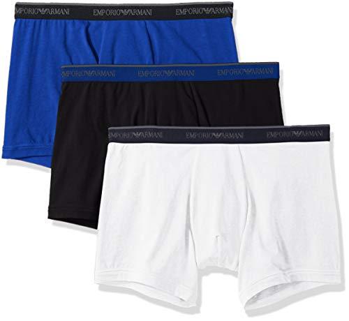 Emporio Armani Herren Stretch Cotton 3 Pack Boxer Brief Unterhose, Marine/Electric Blue/White, Large (3erPack) - Blue Cotton Boxer