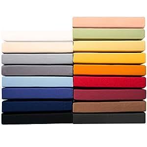 Jersey Spannbettlaken 90 x 200 - 100 x 220 cm für Boxspringbetten u. Wasserbetten, 160g/m² Mako-Baumwoll Qualität, klassisches Spannbetttuch für hohe Matratzen, schwarz, aqua-textil 0010166 Serie PUR