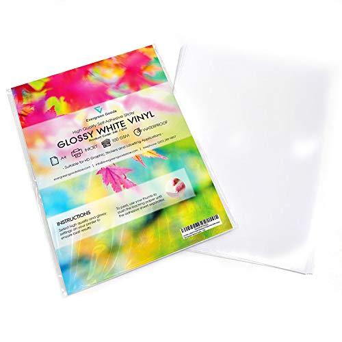 10 Blatt hochwertigeVinylsticker (PVC), mit Tintenstrahldrucker bedruckbar, weiß, glänzend, selbstklebend -