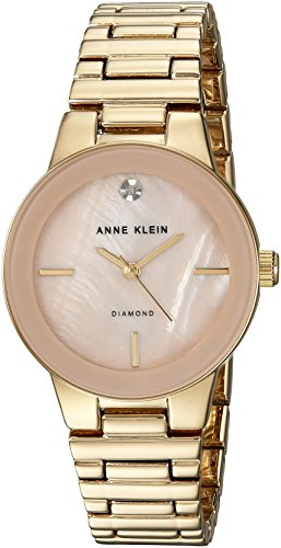 Anne Klein Femme AK/2670pmgb Diamond-Accented Couleur Or Bracelet de Montre