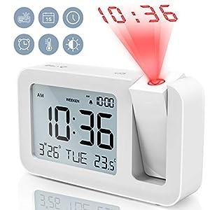 Projektionswecker, TedGem Reisewecker Digitaler Wecker Tischuhr 3,8″LCD Anzeige, Große Anzahl, 4 Helligkeit, 9 Min Snooze, 2 Alarmtöne, für Schlafzimmer, Büro, Küche (Weiß)