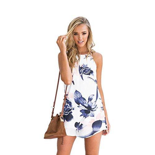 Gedruckt Kette Bikini-top (DOLDOA Frauen Tethers Blumen gedruckt kurzes Minikleid, weiß (Größe: 40 Fehlschlag: 90cm / 35.4