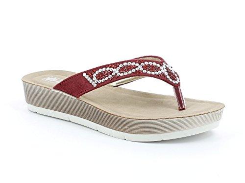 Femmes Dames Cristal Détaillé Toe Post Tous les jours Poids léger Confort Casual Enfiler Talon compensé Sandals Chaussures Taille Rouge