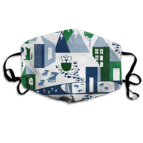 Nordic Village In Blue And Green Anti Dust Mask Anti Pollution Washable Reusable Mouth Masks