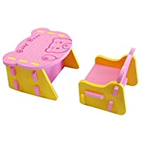 XMTMMD EVA Foam Cute Bare Table and Chair Kids Furniture Toy Easy Assembly BABY TOYS toddlers toys 9 MONTHS TO 3YEARS BABYS(PINK/YELLOW) AMPZY01