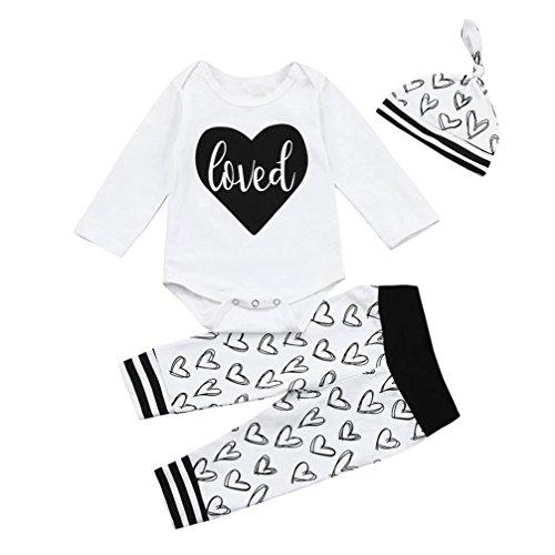 Jamicy® Neugeborenes Kind Baby Letter Spielanzug Tops + Herz + Hosen + Hut Outfits Kleider Set (18 Monat) (Hello Kitty Outfit Ideen)