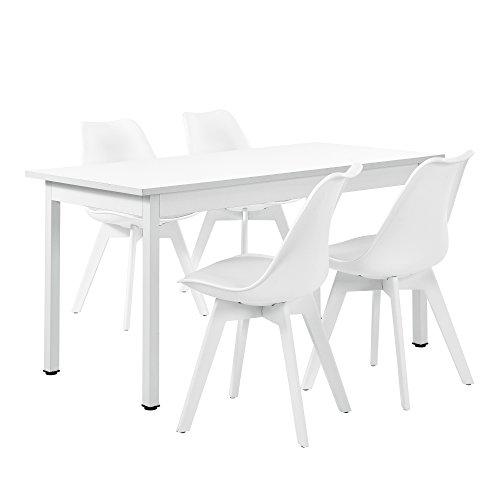 [en.casa]®] Juego de Comedor - Mesa Blanca 140cm x 60cm con 4 sillas Blancas%0a