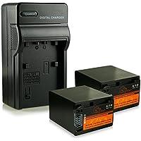 Cargador + 2x ExtremeWolf Batería NP-FV100 / NP-FV90 para Sony DCR-DVD650E | DVD710E| DCR-SR73 | SR78 | SR83 | SR87E | SR88 | SX45 | SX50E | SX53 DEV-5 | DEV-50 Sony HDR-CX110 | CX110E | CX115
