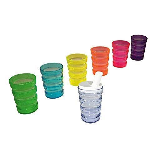 Rillenbecher mit Teeaufsatz, auslaufsicher, lila: BerseCare Trinkbecher   Der Einnehmebecher ist geeignet als Trinkhilfe für Senioren & Kinder