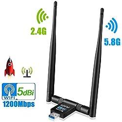 [2019 Mise à jour]Adaptateur USB Wifi, USB 3.0 1200Mbps Clé Wifi Donglesans, fil double bande 5G/2.4G 5dBi Wifi Antennes de réseau pour PC de bureau, Windows 10/8/7/Vista/XP/2000, Mac Os X, Linux