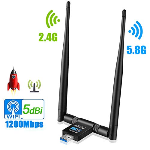 PiAEK WLAN Adapter 1200 Mbps, WiFi Adapter USB 3.0 mit Dual Band Wireless 5G /2,4G und 5dBi WLAN Antennen für Desktop Laptop PC, Unterstützung von Windows 10/8/7/Vista/XP/2000, Mac OS X Linux (01) - Pc Linux