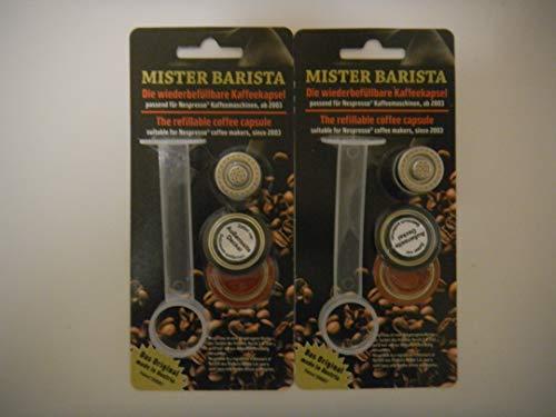 Mister Barista Starterset - wiederbefüllbare Nespresso(R) Kaffeekapsel - Doppelpackung