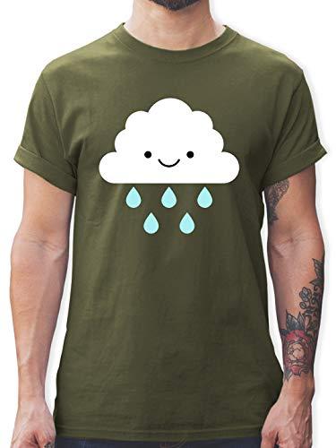 Karneval & Fasching - Regenwolke Karneval Kostüm - L - Army Grün - L190 - Herren T-Shirt und Männer Tshirt (Rain Mann Kostüm)
