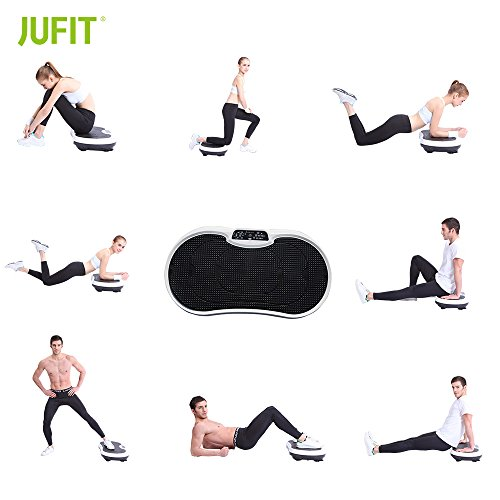 41KDgRZfXyL. SS500  - JUFIT Vibration Plate Trainer/Vibro Plates/Power Plate with Resistance Bands & Remote Control Anti-Slip Vibro Shaper with 25% Extra Area for Vibration Plate Exercises (Black/White)
