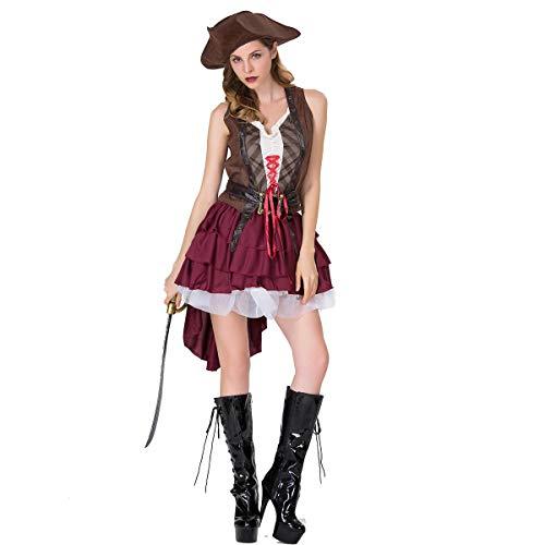 Halloween Cosplay Kostüm Erwachsene Cosplay Jack Weibliche Kapitän Kostüm Karibik Pirate Party Kostüm Bühnenkostüm Geeignet Für Karneval Thema ()
