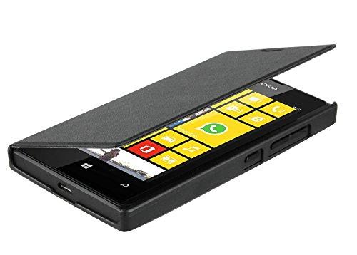 Caseit Protective Slimline Folio Hülle Horizontal Flip Case Cover & Bildschirmschutzfolie im Set für Microsoft Lumia 435 - Schwarz