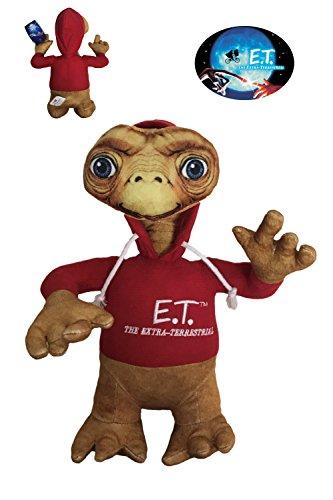 ET Peluche E.T. el Extraterrestre Serigrafiado 30cm con Sudadera roja con Capucha. Calidad Super Soft