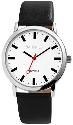 Bahnhof Herrenuhr analog Armbanduhr Silberfarbig Quarzwerk und Metallgehäuse rund 42mm x 8mm Kunstlederarmband Schwarz 23cm x 22mm Dornschließe und Ziffernblatt in weiß 290122200002