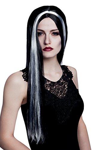 Boland 86081 - Erwachsenenperücke Hexe Aurora, Einheitsgröße, schwarz / weiß (Schwarze Vampirin-perücke)