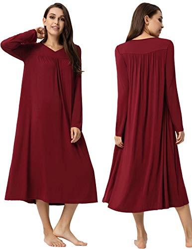 Zexxxy Damen nachtwäsche Lange nachtgown v-Ausschnitt Langarm Maxi Nacht Dress klein weinrot