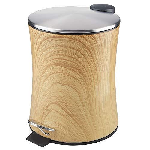 mDesign Tretmülleimer - 5 l Mülleimer aus Metall mit Pedal, Deckel und Kunststoffeinsatz - perfekt als Kosmetikeimer oder Papierkorb für Bad, Küche, Büro etc. - holzfarben (Holz-küche-mülleimer)