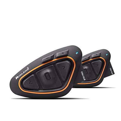 Oferta de Midland BTX1 Pro - Par de Auriculares Bluetooth para Moto, con cancelación del Ruido, comunicación del piloto y 2 Auriculares