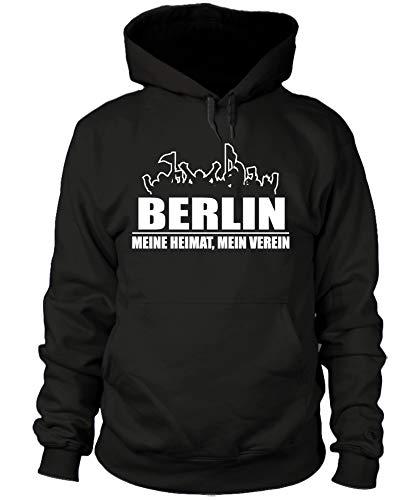 shirtloge - Berlin - Fanblock - Meine Heimat, Mein Verein - Fussball Fan Kapuzenpullover - Schwarz - Größe L