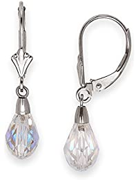 14ct White Gold 9x6mm Swarovski Crystal Pear Drop Leverback Earrings - Measures 29x6mm
