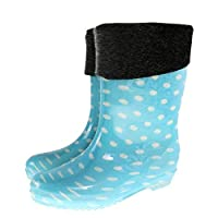 XIAYUT Rain Boots For Women,Fashion Simple Outdoor Blue Wave Point Plus Velvet To Keep Warm Middle Tube Rubber Waterproof Rain Shoes Low-Heeled Ladies