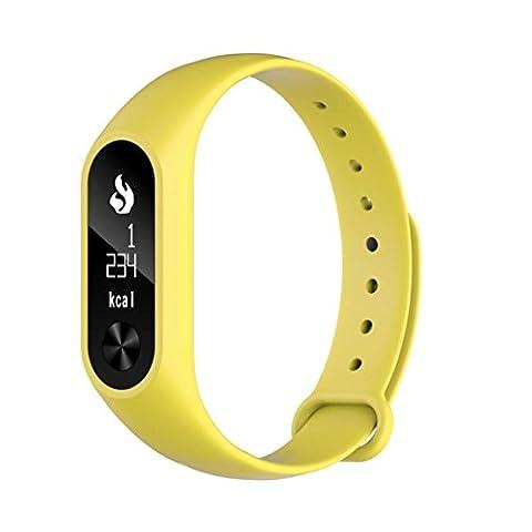 hunpta M2S Bluetooth Smart étanche bracelet monitorsports Montre de fréquence cardiaque, jaune