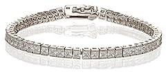 Idea Regalo - Argento Sterling 925 con marchio, in oro bianco, con diamante taglio Princess impostazioni-Braccialetto da donna, Argento, colore: argento, cod. SBQ10001