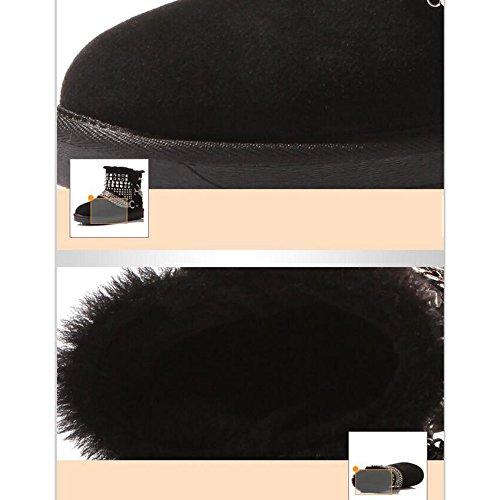 HAIZHEN  Stivaletto Scarpe da passeggio invernale per scarpe da donna Casual Flat Heel Flat Flat / Black 098in (2.5cm) Per 18-40 anni ( Colore : Nero , dimensioni : EU36/UK4/CN36 ) Nero