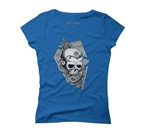 Black Metal Burning Skull Women's 2X-Large Royal Blue Graphic T-Shirt - Design By Humans (T-shirt Blue Skull Flame)