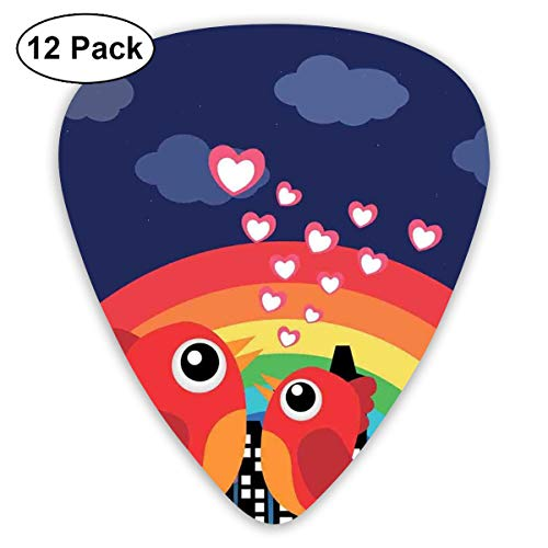 Celluloid Guitar Picks - 12 Pack,Abstract Art Colorful Designs,Vibrant Color Rising Rainbow Behind Silhouette Of A Town And Tweeting Tiny Birds,For Bass Electric & Acoustic Guitars. -