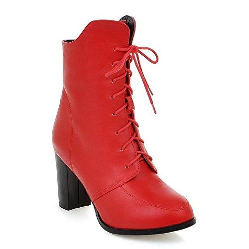 VogueZone009 Damen Hoher Absatz Knoten Rund Zehe PU Leder Schnüren Stiefel, Rot, 39