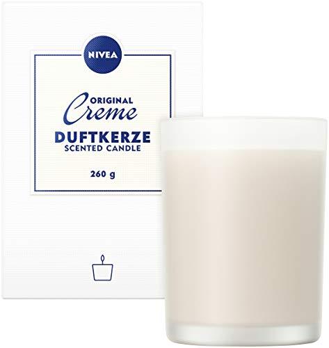 NIVEA Home Duftkerze mit dem unvergleichlichen Duft der NIVEA Creme, Brenndauer bis zu 45 Stunden, Aromatherapie-Kerze im hochwertigen milchig-weißen Glas, groß, 1 x 260g