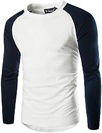 Allegra K Hommes Bloc De Couleur Raglan Manches Longues Ras Du Cou Baseball T-shirt