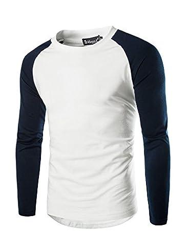 Allegra K Männer Lang Raglan Hülse Farbblock normal Lässig Hemd