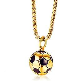 KRMZB Joyas para Hombres de Acero Inoxidable 17.7MM Colgante de Oro de fútbol