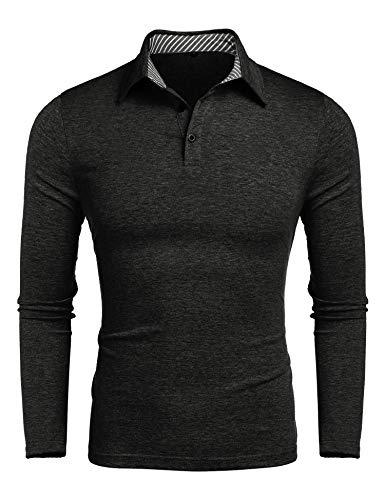 Herren Poloshirt Langarm Herren T-Shirts Baumwolle Frühling Herbst Langarm Golf Shirt Knit Polo Shirt Top