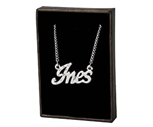 Collier Prenom Ines - Blanc plaque or 18k Collier personnalise. 40-48 Chaine Belcher cm avec boite-cadeau et un sac-cadeau. 2mm d'epaisseur nominale