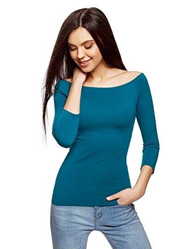 oodji Ultra Damen Schulterfreies Langarmshirt, Türkis, DE 36/EU 38/S (Shirt Damen Baumwolle Knitterfrei)