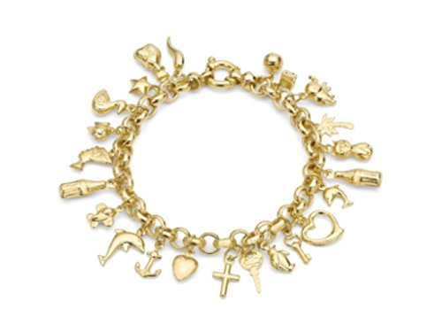 9ct Gelb Gold massiv Charms Armband 19cm/19,1cm UK Geschenk-Box (Tiffany Armband Box)