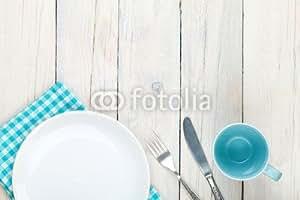 """Aufkleber-Bild 60 x 40 cm: """"Empty plate, cup and silverware"""", Bild auf Aufkleber"""