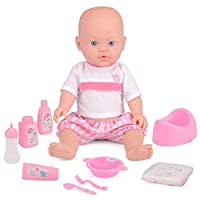 ToyStar Drink & Wet Baby Doll, My First Baby Toy, Drinks From Bottle, Wees In Potty, 9 Accessories For Pretend Play