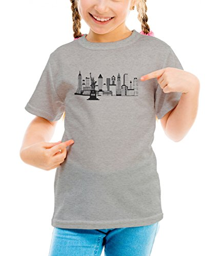 Billion Group | New York Skyline Black White Illustration | City Collection | Girls Classic Crew Neck T-Shirt Grigio Small