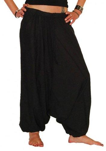 Pluderhose Pumphose Shalwar Hose ALADINHOSE Hosenrock, Farbe:Black / Schwarz, Größe:One Size