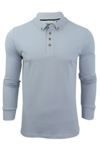 "Brave Soul - Herren Polo T-Shirt ""Lincoln"" Pique Lange Ärmel Dusky blau"